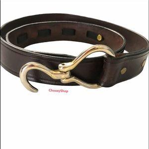 Tory Folding Hoof Pick Silver & Brown Leather Belt